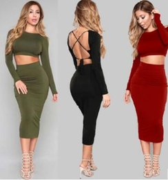 Wholesale Dress Suit Skirt Slim Women - 2017 autumn and winter new long-sleeved Bandage fashion Backless vest sexy package hip skirt Bodycon Party Dresses casual women suit