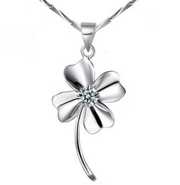 Wholesale Swarovski Flower Charm - 18k White Gold Necklace Pendant GP Purple White Swarovski Crystal Love Necklaces Charms Four Leaf Clover 925 Sterling Silver Jewelry