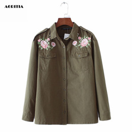 Wholesale Floral Jean Jacket - Wholesale- 2017 Spring Women Floral Embroidery Army Green Jeans Jacket Denim Jacket Outwear Jaqueta Jean Jacket Womens