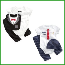 Wholesale Toddler Boy Striped Pants - party formal baby boys suits newborn toddler gentleman style short bodysuits rompers long pants black blue hat 3pcs outfits high quality