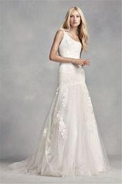 Wholesale Drop Waist Mermaid - One Shoulder Floral Lace Applique Wedding Dress VW351287 Dropped Waist Classic Open Back Ivory Bridal Dress