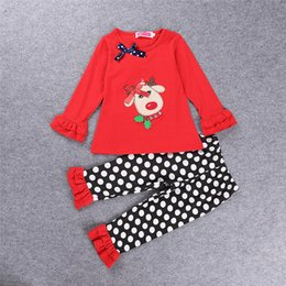 Wholesale Deer Bow Shirt - Kids girl Christmas outfit Cute Girl deer with bow t-shirt + ruffle pants 2pcs outfit children polka dot pants autumn fall wear Size80-120