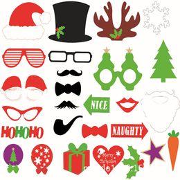 cabine de photo de fête de moustache Promotion Fête de Noël Props Photo Masques 4 Styles Père Noël Moustache Chapeaux Bonbons Lèvres Cadeaux Lapin Lunettes Cravate HoHoHo Slogan Booth Props