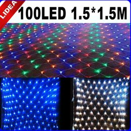 Wholesale Twinkle String Christmas Tree - 1.5*1.5M 100 LED Party Wedding Net Mesh New Year Christmas Twinkle String Decoration Outdoor Garland Holiday Fairy Light