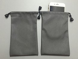 Wholesale Jewelry Gray Pouch - 25Pcs Lot Waterproof Small Gray Drawstring Bag Pouch Collecting Wedding Gift Bag For Jewelry Power Bank Mobile Phone