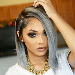 Wholesale Indian Short Full Lace Wig - ombre grey bob human hair wig lace front wig ombre color two tone black to grey bob wig for women