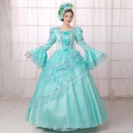 Wholesale Century Free - Free Shipping 2016 Hot Sale Blue Printed Medieval Renassiance 18th century Rococo Marie Antoinette Party Dresses For Women