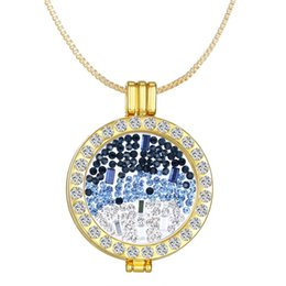 Wholesale Large Love Necklace - Large Disc Coin Pendant Necklace coin+chain+locket pendants Blue love necklaceS 33mm Stainless Steel Coin Holder floating necklaces