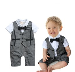 Wholesale Rompers Gentleman Modelling Baby - Baby romper boys gentleman short sleeve rompers kids relaxation modelling climb clothes children jumpsuits baby clothing