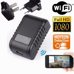 Wholesale Night Vision Spy Cameras Wireless - Mini 1080P WIFI HD SPY DVR Hidden Camera AC Plug Night Vision Video Recorder Cam Without Hole