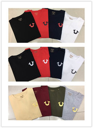 Wholesale White Red Tshirts - High quality summer brand jeans robins mens tshirts black white red blue color true cotton o-neck short rock men's t-shirts plus size M-XXXL