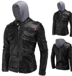Wholesale Men Leather Hooded Jacket Coat - Men's high quality leather coat men's jacket PU leather motorcycle jacket hooded coat parka men free shipping