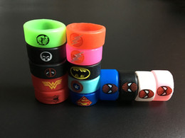 Wholesale Batman Silicone - Newest Vape Band Silicone Rings Non-Slip Colorful Rubber Rings Superman Flash Captain America Deadpool Hulk Batman Fit E Cigarette