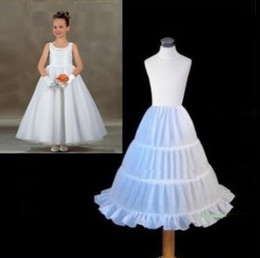 Wholesale Girls Kids Crochet Dress - White Children Petticoat 2017 A-line 3 Hoops Kids Crinoline Bridal Underskirt Wedding Accessories For Flower Girl Dress Girls Pageant Gowns