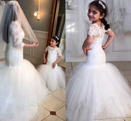 Wholesale Beauty Pageant Royal Blue Dresses - 2016 White Lace Flower Girls Dresses For Weddings Beauty Short Sleeves Mermaid Girl Birthday Party Dress Trumpet Little Girls Pageant Wear