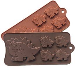 Wholesale Dinosaur Chocolate Moulds - 5-cavity Large Dinosaur Shape Candy Mold Silicone Chocolate Mold Fondant Lace Cake Mold Baking Accessories for Sale Free Shipping