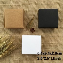 Wholesale Jewelry Box Print Wholesale - 50PCS 6.4x6.4x2.8cm Brown Black White Kraft Cartons Box Presents Caixa Soap Packaging Boxes Gift Packing Box Jewelry Boxes