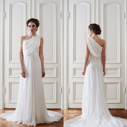 Wholesale Greek Chiffon Dress Images - 2016 Simple Greek Beach Wedding Dresses One Shoulder Sleeveless Ruched Draped Chiffon Cheap Bridal Gowns with Sweep Train Custom Made