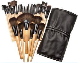 Wholesale Makeup Brushes 32pcs Pink - 32Pcs Professional Wood Makeup Brushes Cosmetic Makeup Brush Set Roll Up Case Eyeliner Makeup Tools Free DHL