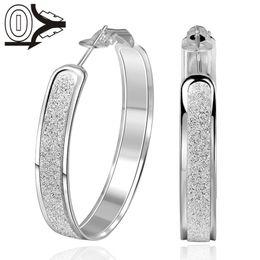 Wholesale Silver Clip Earrings Hoops - Boucle d'oreille Wholesale Silver Plated Earring,Wedding Jewelry Oorbellen,Fashion Sanding Round Silver Women Earrings Ladies Hoop Earring