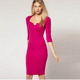Карьера одежда платье женщины Половина рукава площади шеи бизнес платья партии Vestidos карандаш оболочка платье #DT106 от Поставщики половина одежды