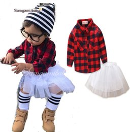 Wholesale Tutu S For Girls - Princess Baby Girls Outfit Plaid Gird T-shirts Tops + White Lace Tutu Skirts 2pc Sets For Girl Casual Girl's Suits New Set A7736