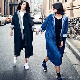 Wholesale Long Hooded Coats For Women - Trench Coat for Women Denim Overcoat Women Open Stitch Bat Sleeve Black Trench Coat with Hooded Long Denim Outwear Autumn Coat