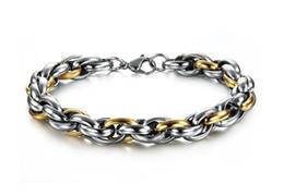 Wholesale Stainless Steel Cable Bracelets - Cool Style Titanium Steel Men Bracelet fashion cable bracelet link chain Multilayer texture Stainless Steel Bracelets 22cmX10mm Wholesale