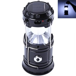 super bright solar camping lanterns Promo Codes - 2016 super bright New solar energy Led camping lamp can be stretched outdoor lantern rechargeable emergency light tent with a flashlight
