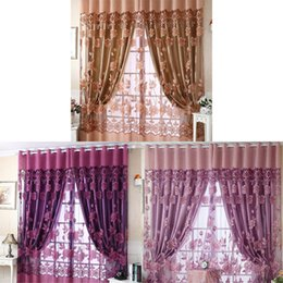 Wholesale Voile Lace Curtains - 1Pc Peony Voile Curtain Room Window Tulle Sheer Curtain Valance Sheer Curtains E00629