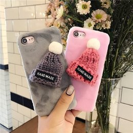 Wholesale Black Hard Hats - 3D Plush Hat Phone Case Warm Hard Skin Winter Back Cover for iPhone 8 7 6s 6 Plus Christmas Gift
