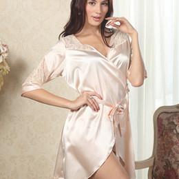 Wholesale Wholesale Luxury Sleepwear - Wholesale- Womens Luxury Lace Deep V Sleepwear Robes Faux Silk Sexy Female Nightgown