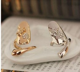 Wholesale Dragonfly Nail Designs - New Exquisite Cute Retro Queen Dragonfly Design Rhinestone Plum Snake Gold Silver Ring Finger Nail Rings ,shipping free