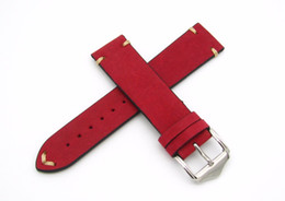 Wholesale Genuine Handmade Leather Belts - 20 22mm Hot Sell New Women Genuine Cowhide Suede Leather Handmade Stitch Red Watch Band Strap Belt Silver Polished Pin Buckle