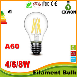 Wholesale E27 Type Led Bulbs - A60 LED Filament Bulb Classic Edsion Led Bulb Edison Type A19 Dimmable Filament Led Bulb Light 2W 4W 6W 8W E27 Bulbs AC85~265V