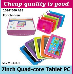"Wholesale Android Tablets 4gb Quad Core - Kids Brand Tablet PC 7"" Quad Core children tablet Android 4.4 Allwinner A33 google player wifi + big speaker + protective cover"