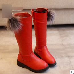 Wholesale Wholesale Knee Boots Red - Christmas Children boots autumn winter girls knee length high princess boots kids pompon thick bottom snow boots kids shoes T0483