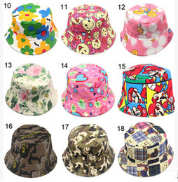 Wholesale Girls Kids Visor - 30 Color Bucket Sun Hat for Girls  Kids Baby Summer Hat Leisure Children Fisherman Cap Cartoon Kid's Hats