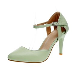 Wholesale Big Size High Heels - 2016 Summer dress Casual shoes High heels For women pumps Mint green sandalias femininas designer wedding shoes Big Plus size 34-43