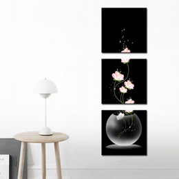 Wholesale Canvas Beautiful Flower Paint - Night Beautiful Still Life Oil Paintings the Flowers 3-Pieces Landscape for Living Room Home and Wall Decoration