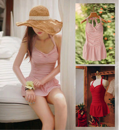 Wholesale Korean Sexy Red Dress - Halter Beachwear Swimwear One Piece Dress Sexy Fresh Bikini Bathing Swimming Suit Swimsuits Korean Pink Red Young Lady