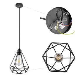 Wholesale Industrial Light Bulb Cage - Industrial Vintage Diamond Cage Pendant Light Sconce Hanging Droplight Lamp E27 Socket AC 85-240V (no bulb included)