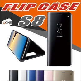 Wholesale Sleep Cover Flip Iphone - For Samsung S8 Luxury Window Sleep Wake UP Flip Case Clear View Standing Cover Flip Case for Galaxy S8plus iphone 6 7 7Plus with kickstand
