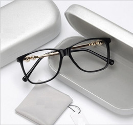 Wholesale Black Large Pearls - pearl large-frame flat mirror temperamental and the female style of the artistic women's side myopia eyeglasses frame