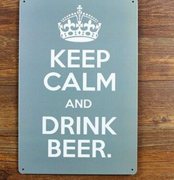 Wholesale Tin Signs Free Shipping - Wholesale- Free shipping metal wall art - keep calm and drink beer Metal painting Tin Sign Bar pub home Wall Decoration ,30x20cm