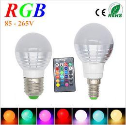 Lampada led rgb e27 en Ligne-3W RGB Lampada Ampoule LED E27 85-265V RGB Ampoule LED E27 220V 110V Projecteur Lamparas Ampoule LED E14 Spot Luz Lampadas de Noël