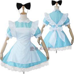 Wholesale Alice Costume Xl - New Japanese Anime Lolita Maid Outfit Girls Alice Uniform Dress Halloween Cosplay Costume Full Set Dress+Apron+Headwear