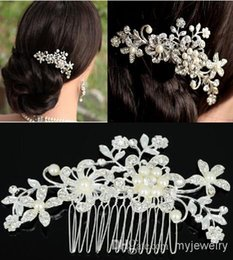 Wholesale Fine Silk Flowers - Fashion Bridal Wedding Tiaras Stunning Fine Comb Bridal Jewelry Accessories Crystal Pearl Hair Brush Free Shipping[JH02052*1]