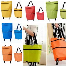 Wholesale Fabric Grocery Bags - Portable folding shopping bag trolley hand reusable storage Shopping Bag On Wheels Rolling Grocery Tote Handbag KKA3218