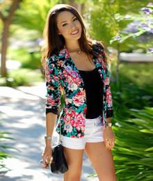 vestes de fleurs dames Promotion 2016 Mode Femmes À Manches Longues Blazers Dames Imprimer Fleur Costume Régulier Femelle À Encoche Vestes Costumes Blazers S-XL